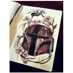 I believe this #pencil #drawing of a #StarWars #Mandalorian #Helmet by @zanelle was a #tattoo #design which would explain the #flowers around it... because I can't picture #BobaFett with a #crown of #flowers! Even so this #illustration is drawn so well... from the light gleaming off the helmet's metal to the flower #petals. Really nice piece!  #CreativeAirship