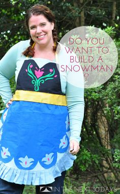 Check out this Princess Anna from Frozen Halloween Costume made from an Apron. It's no-sew and super easy! | In The Next 30 Days