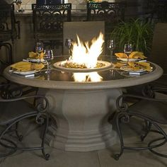 American Fyre Designs Inverted Dining Firetable with Granite Top | WoodlandDirect.com: Outdoor Fireplaces: Fire Pits - Gas, American Fyre Designs #LearnShopEnjoy