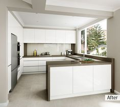 AFTER: Wall ovens were placed on the left side, expanding the width of the cooking area Open Plan Kitchen Living Room, Kitchen Room Design, Best Kitchen Designs, Modern Kitchen Design, Kitchen Layout, Kitchen Interior, Kitchen Decor, Brown Kitchens, Cool Kitchens