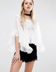 Navy London Frill Sleeve Wide Neck Angel Layer Top