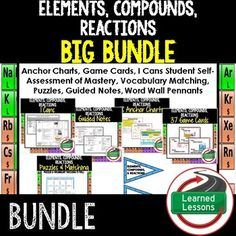Elements, Compounds, and Reactions BUNDLEPHYSICAL SCIENCE PAGEThis is also included in a PHYSICAL SCIENCE MEGA BUNDLE!This Bundle Includes the Following Resources:-Elements, Compounds, and Reactions Anchor Charts (Great for Word Walls, Bulletin Boards, and Bellringers)-Elements, Compounds, and Reactions  Student Self-Assessment of Mastery I Cans-Elements, Compounds, and Reactions Puzzles and Vocabulary Matching Cards-Elements, Compounds, and Reactions I Have, Who Has Game Cards-Elements…