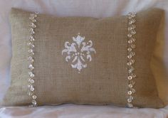 "Burlap Hand Painted Fleur White and Gold Bead Lumbar Pillow Cover 18"" X 12"" Front Lined. $27.00, via Etsy."