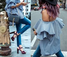 Francesca Felix - Sam Edelman Velvet Heels, Mlm The Label Ruffle Off Shoulder Top, 7 For All Mankind Step Hem Jeans - Ruffles in the City