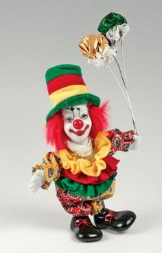 """Clown Figurine - Green/Red/Yellow Hat & Balloons, Hand-Painted, Posable, Porcelain, 7"""" Height by Banberry Designs, http://www.amazon.com/dp/B005MJWSHW/ref=cm_sw_r_pi_dp_m0ITrb09Q9W19"""