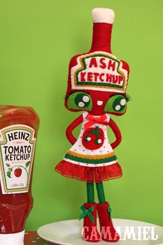 CUSTOM DOLL Reserved for Missy Ketchup bottle doll by camamiel