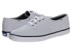 KEDS KEDS - CHAMPION MICRO DOT (WHITE TWILL) WOMEN'S LACE UP CASUAL SHOES. #keds #shoes #