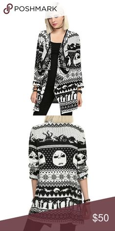 THE NIGHTMARE BEFORE CHRISTMAS CARDIGAN Black and white cardigan from The Nightmare Before Christmas with an allover intarsia knit design. Size medium. Can fit a S/M, it's meant to be oversized. I've worn this twice. Excellent condition Disney Sweaters Cardigans