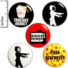 Binge Watching Buttons 5 Pack of Backpack Pins Funny Lapel Pins TV Zombie Pizza Pins Takeout Gift Set 1 Funny Buttons, Cool Buttons, Work Jokes, Work Gifts, Halloween Gifts, Halloween Party, Backpack For Teens, Cheap Gifts, Vintage Pins