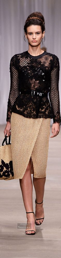 Ermanno Scervino ~ Black Embroidered Lace Top w Asymmetric Wrap Skirt Spring 2015.