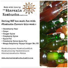 Having WAY too much fun with #Kombucha flavors this week : - Strawberry Pear - Grape - Ginger Spice - Cranberry Spice - Apple Pie - Cranberry Spice Apple Pie - Mango Raspberry Papaya Ginger (Mr. PG) #kombuchaqueen #kombuchaaddict  #kombuchaarmy #madewithlove  #ataraxiakombucha #detox www.ataraxiakombucha.tumblr.com