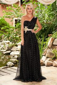 Rochie LaDonna neagra eleganta de ocazie lunga plisata in clos cu bust buretat si buline Elegant Dresses, Formal Dresses, Strapless Dress Formal, Corset, Nasa, Floral, Model, Fashion, Tulle