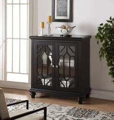 Enzo Black Rectangle Shape And Doors Console Table