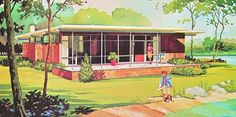 Vintage Vacation House Plans, vacation homes Vintage House Plans, Modern House Plans, Vintage Homes, Vintage Architecture, Modern Architecture House, Modern Buildings, Mid Century House, Mid Century Style, Mid Century Exterior