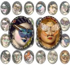 Butterfly Masks 30x40 Ovals Instant Digital Download: Vintage Ladies in Surreal Collage