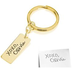 Signature Handwriting Tag Key Chain -18k gold plated .925 sterling silver