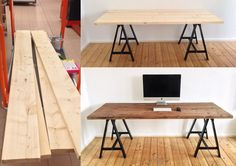 Ich möchte euch gern meinen neuen Schreibtisch vorstellen. Gebaut aus 4 x 4cm dicken und 2m langen Holzbalken aus dem Baumarkt. Die Holzböcke sind von IKEA und Kosten 10€ pro Stück. Demnächst kommt noch ein zweiter Monitor, da ich ihn aus berufstechnischen Gründen brauche. Der soll dann an die Wand montiert werden, so dass er zu schweben scheint. Seid gespannt :smile: