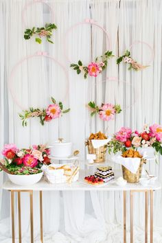 CL circle things- add flowers over buffet area