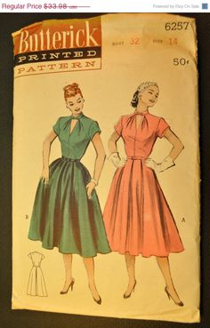 SALE One Piece Dress Vintage 1950s Sewing Pattern-Butterick 6257 Bust 32 Size 14 for amroon and grey print 1950s fabric.