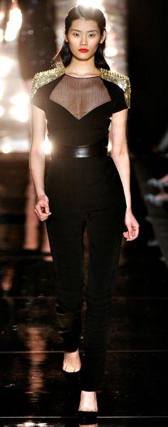 Monique Lhuillier- black and gold studded jumpsuit
