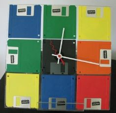 """This clock will take you back in time when you still could use floppy disc. Measuring 11 1/2"""" square and requires 1 AA battery  Our Price: $29.95  Availability: Temporarily Out Of Stock Email us at giftshop@nawcc.org for stock info"""