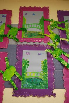 monet garden and texture frogs...double up on the display time...2 classes in 1