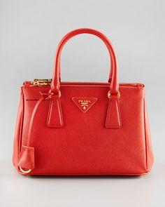 Saffiano Lux Mini Tote Bag - Prada (Mini Time Tote / shoulder Crossbody Leather Red)