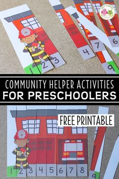 A high-interest math activity for boys!  Use these free fire truck printables to fun way to teach number recognition and number order. Both fire truck number puzzles will be great addition to your community helpers theme, fire safety theme, or firefighters theme unit and lesson plans in preschool or pre-k.  Teachers and children will love these fire trucks and firemen free printables.  Make math learning fun for kids ... perfect for learning at home. Activities For Boys, Space Activities, Counting Activities, Number Activities, Preschool Lesson Plans, Preschool Activities, Early Learning, Fun Learning, Community Helpers Activities