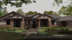 The D'Ispirazione small house plan delights with its clean architectural style and warm stone finish. This ranch house plan is ideal for empty-nesters or young families who don't want to compromise the luxuries of a large home. The low roof pitches of this floor plan make it more affordable, while it's oversized rooms guarantee ample space for the family to enjoy.