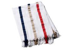 Newport Towel, Red/Navy