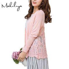 Makuluya spring autumn summer long modal Cardigan plus Size long sleeved sweater female thin coat Spliced lace S91  #instalike #streetstyle #cool #sweet #ootd #fashionista #instastyle #glam #model #stylish