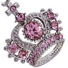 Pingente coroa rosa e prata