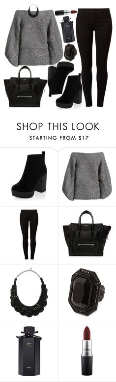 """""""Untitled #4230"""" by natalyasidunova ❤ liked on Polyvore featuring New Look, Paul & Joe, Dorothy Perkins, CÉLINE, Valentino, Dsquared2, Gucci and MAC Cosmetics"""