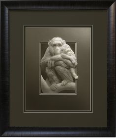 A new version of my Chimps paper sculpture as a  limited edition print in taupe with double mats and frame