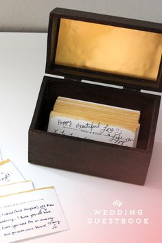 diy wedding guestbook box. - annmarielovespaper.com