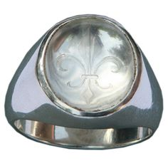 Crystal Ring Sub Engraved Fleur De Lys Unisex Regnas by Regnas