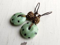 Eau de Nil - handmade earrings - green earrings, mint earrings, polka dot earrings, spotty jewelry, unique earrings, lampwork jewellery