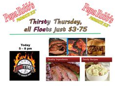 Today is Thirsty Thursday All floats only $3.75. BBQ TIME food truck.will be serving from 5pm – 8pm. So stop by for some really good food today. Check out the menu at www.bbqtimecharlotte.com #BBQ