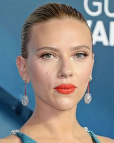Scarlett Johansson at the 2020 SAG Awards Diamond Hair, Diamond Drop Earrings, Sleek Updo, Moon And Star Earrings, Celebrity Jewelry, Michelle Rodriguez, Sag Awards, Sleek Hairstyles, Actress Christina