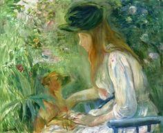 Berthe Morisot  Girl with Dog (1892)  Portrait of Julie Manet, the Artist's Daughter