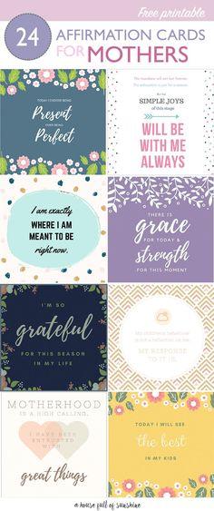 FREE printable affirmation cards for mothers via @karenschrav