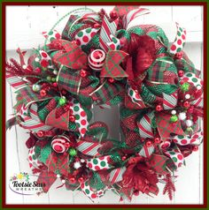 TraditionalHolidaySeasonalChristmasRed by TootsieSuesWreaths Christmas Mesh Wreaths, Deco Mesh Wreaths, Red Christmas, Winter Wreaths, Christmas Decorations, Holiday Decor, Christmas Stuff, Door Wreaths, Holiday Fun