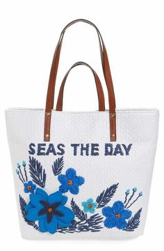 Tommy Bahama Athen - Seas the Day Embroidered Straw Tote