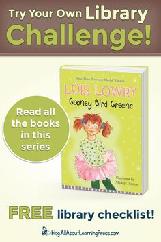 Challenge your child to read all the books in the Gooney Bird Greene chapter book series! Gooney Bird Greene, Newbery Medal, Free Library, Reading Challenge, Chapter Books, Book Series, Challenges, Child, Education