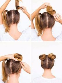 Easy hairstyles for school - Darling 5 Minute Twin Buns for Sunny Days