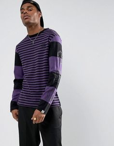 Billionaire Boys Club Striped Long Sleeve T-Shirt With Back Print in B