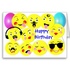 Emoji Fun Cute Trendy Faces Card