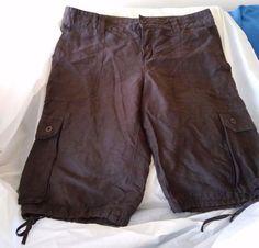 Gap Cargo Shorts Women's SZ: 6 Silk Linen Color Brown Hiking Running SportsSoft #GAP #Cargo