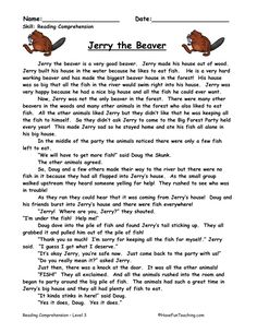 This Reading Comprehension Worksheet - Jerry the Beaver is for teaching reading comprehension. Use this reading comprehension story to teach reading comprehension. Reading Comprehension Activities, Reading Fluency, Reading Passages, Reading Strategies, Reading Skills, 6th Grade Reading, Reading Test, Teaching Reading, Short Moral Stories