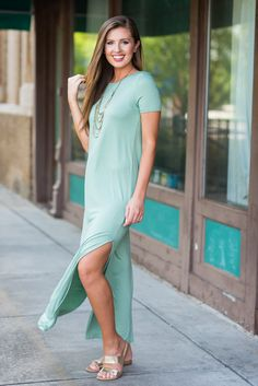 """Take Me Anywhere Maxi Dress, Sage""Your favorite casual cute maxi dress is back in a new fabulous color!! #newarrival #shopthemint"